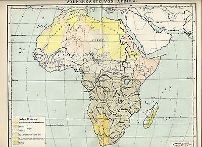 ca1890 ETHNOLOGY AFRICA PEOPLE RACES Antique Map BROCKHAUS