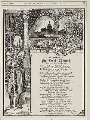 Vintage Cartoon Punch 1903 - Religion Catholic In Memory of Pope Leo XIII 8x10