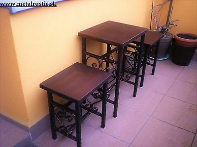 Vintage Wrought Iron Balcony Set 2 Chairs & 1 Table Garden Furniture Handmade
