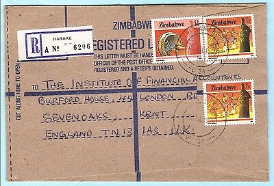SIMBABWE R- Brief Registered Cover 325 A + 328 A Tanz Mbira Musik (29708) AG