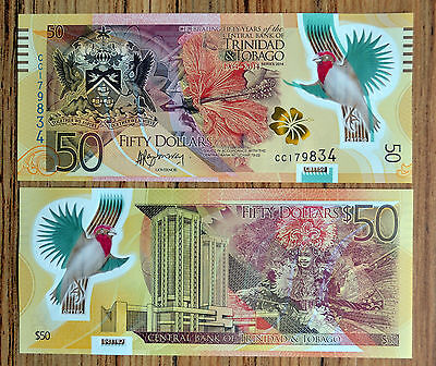 Trinidad and Tobago 50 Dollars 2014  P-54 POLYMER NOTE COMMEMORTIVE CURRENCY UNC