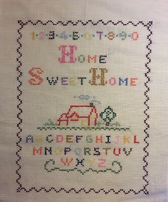 'Home Sweet Home' 123... ABC .... Completed Cross Stitch Picture on Linen