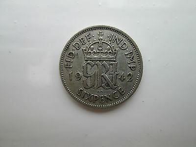 1942 George VI Silver Sixpence Coin