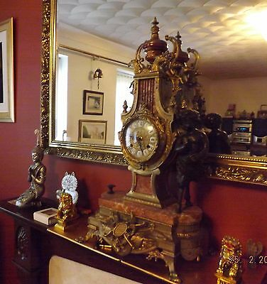 Beautiful Large Ornate Brass and Marble 8 Day Mantle Clock