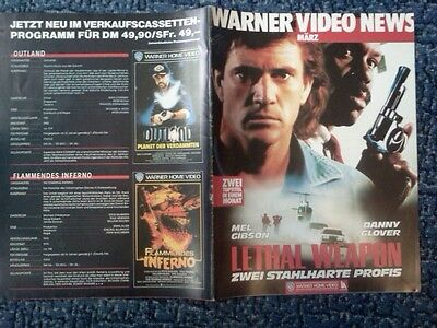 80er WARNER VIDEO NEWS MÄRZ REKLAME Ohne Heftklammern! MEL GIBSON LETHAL WEAPON