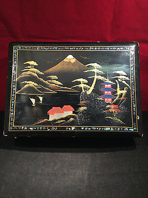 Japanese Shell Inlayed Black Lacquer Music Jewellery Box (Mount Fuji) 1950s