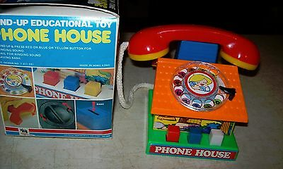 Mechanical Fun Time house phone, dial, wind up bank vintage toy with box
