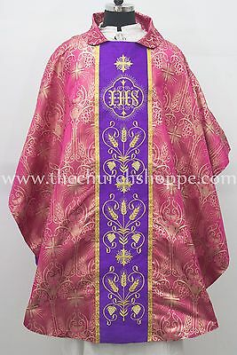 NEW Dark Rose Metallic Gothic Vestment & Stole set with IHS Embroidery, Casula,