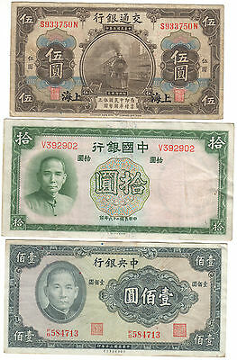 Chine lot 3 billets 5 yuan locomotive+10+100 yuan China set 3 notes steam engine