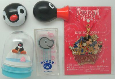 Pingu Figure Diorama Dome Jar Stamp Pinga Hair Clip Set Cake Topper Stamper
