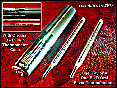 B - D & TAYLOR Dual ORAL Medical Thermometers w/ original B-D DUAL case NOS !!!