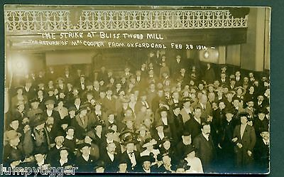 BLISS TWEED MILL STRIKE 1914,MRS COOPER RETURNS FROM GOAL,vintage postcard