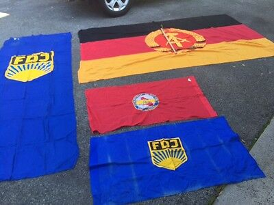 4 East German flags from the Cold War.