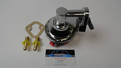 SBC Chevy Replacement Chrome Mechanical Fuel Pump 305 350 400 With Fittings