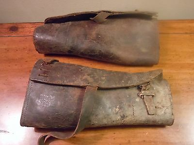Antique WW1? Military Leather Shin Guards/ Set of Two