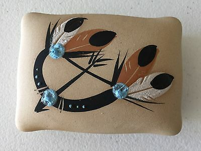 Vintage Ceramic Indian Feather Large Trinket Jewlery Box Holder Marked