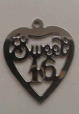 sweet 16 charm pendant sterling silver
