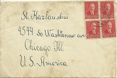 Lithuania 1935 Stamped Cover to USA Chicago M825
