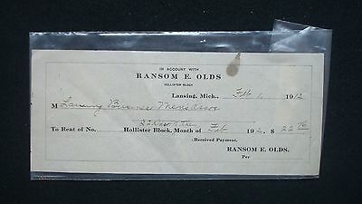 Ransom E Olds. R E Olds Reciept Dated February 1, 1912. RARE.  Lansing Michigan