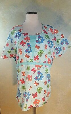 Dickies Scrub Top 2X Womens Baby Blue Butterfly Medical Top
