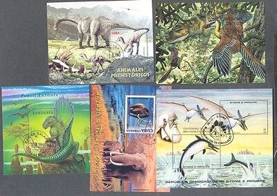 Prehistoric Animals-Birds 10 Miniature sheets all different collection