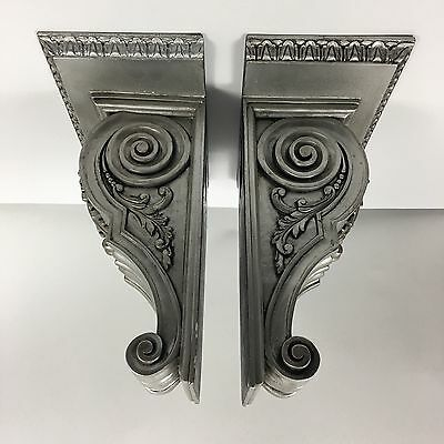 Antique Set Of 2 Corbel Wall Shelf Brackets Wood Carved Pair Sconce Mantel Book
