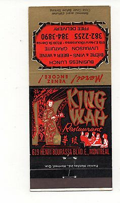 King Wah Restaurant, Montreal Canada, Advertising, Vintage Matchbook Cover,