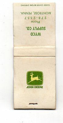 John Deere, Wyco Supply Montrose Pennsylvania, Vintage Matchbook Cover May16