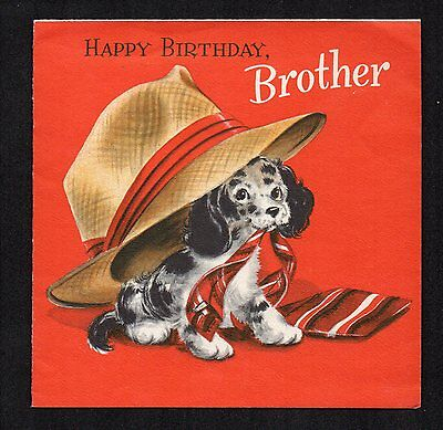 Vintage Hallmark Birthday Greeting Card Adorable Dog with Adult Clothes