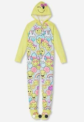 NWT Girls Justice Hooded Emoji Onesie Footed Pajamas Size 8 16/18 ...