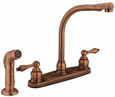 High Arch Antique Copper Double Handle Kitchen Faucet With Sprayer New