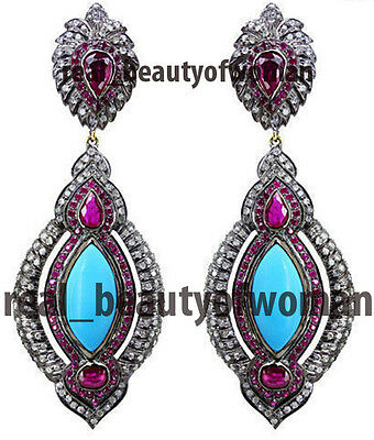 Vintage Inspired 4.23ct Rose Cut Diamond Turquoise / Ruby Silver Earrings Dangle