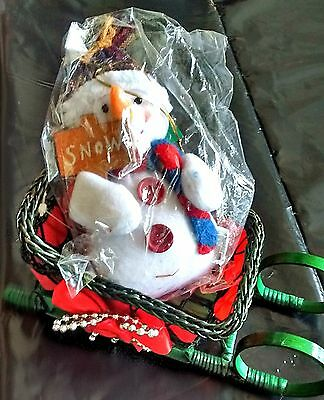 Wicker Sleigh Plush Snowman Christmas Lot Ornament Green Red White Holiday Pair