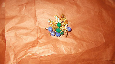 VINTAGE GROSSE 1967 Germany Gold Tone green and blue Brooch brooch