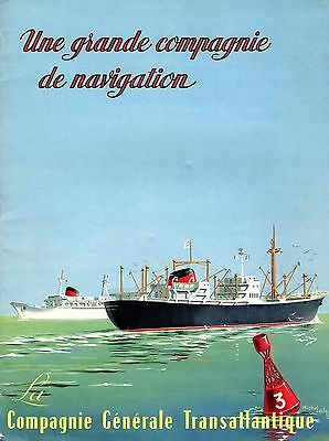 1960 French Line Centenary Brochure w/ Lezla Artwork - NAUTIQUES sHiPs WORLDWIDE