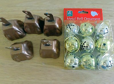Group of Assorted Christmas Items; Small Cloth Purse, 2 Kinds of Bells