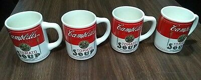 Vintage Campbells Tomato Soup Coffee Mugs USA Pottery Set of 4