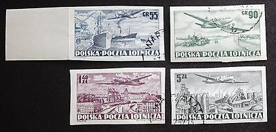 Poland -1952 AIRMAILS Set of 4 Imperforate - Used