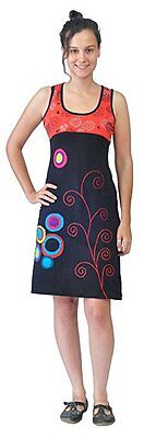 LADIES MULTICOLORED SLEEVLESS SPIRAL EMBROIDERY PATCH DRESS - LALUPATE TattoPani
