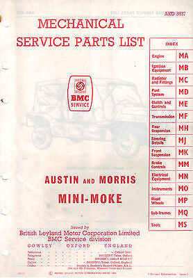BMC Morris Mini Moke mk1 parts list AKD 3537 3538