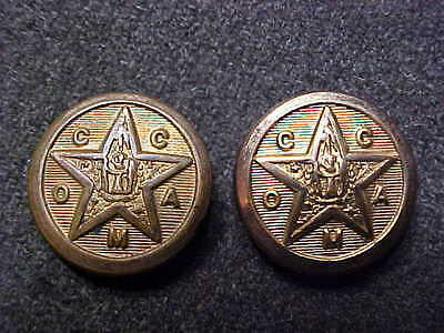 Rare Pair Oklahoma Military Academy Claremore Cadet Hat Buttons Superior Quality