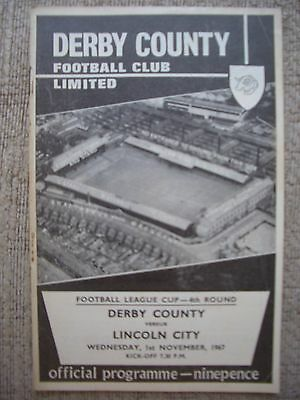 1967...DERBY COUNTY v LINCOLN CITY......F.L.Cup 4th rd........Football Programme