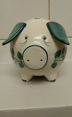 hand painted jersey pottery piggy bank