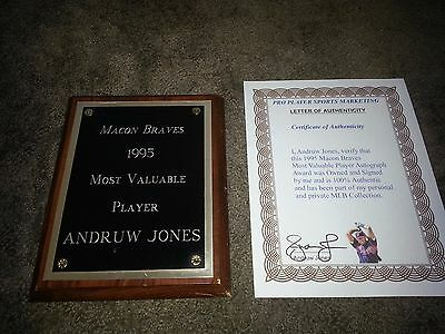 Andruw Jones Braves 1995 MACON BRAVES MOST VALUABLE PLAYER AUTOGRAPH AWARD MLB