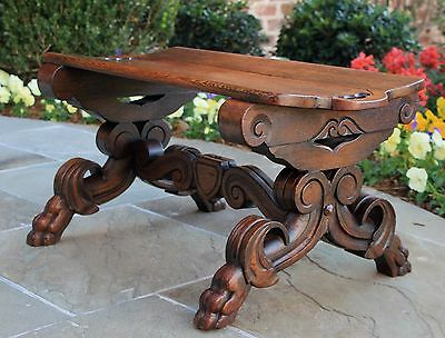 Antique French Carved Oak Foot Stool Small Bench Shield Stretcher Paw Feet