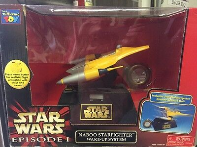 1998 Star Wars Episode I Naboo Starfighter Wake-up System by Thinkway NIB
