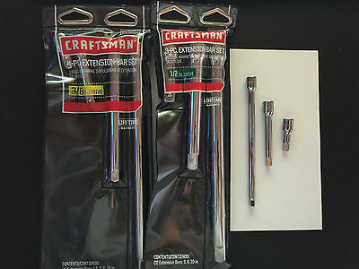 """Craftsman Extension Bar Set-1/4"""", 3/8"""" or 1/2"""" Drive -10in,6in,3in 1.5 or ALL"""