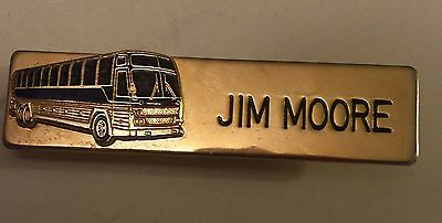 "Vintage Brass Plated ""bus Company Employee/driver"" Pinback Name Tag - Jim Moore"