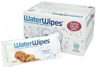 WaterWipes Chemical Free Baby Wipes, Natural and Sensitive, 9 X 60 (540 Wipes)