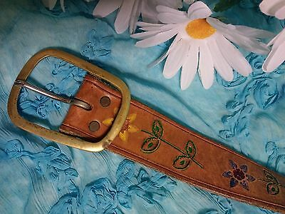 Vtg 60's 70's HIPPIE Flower Power Stamped Tooled Painted Leather BELT